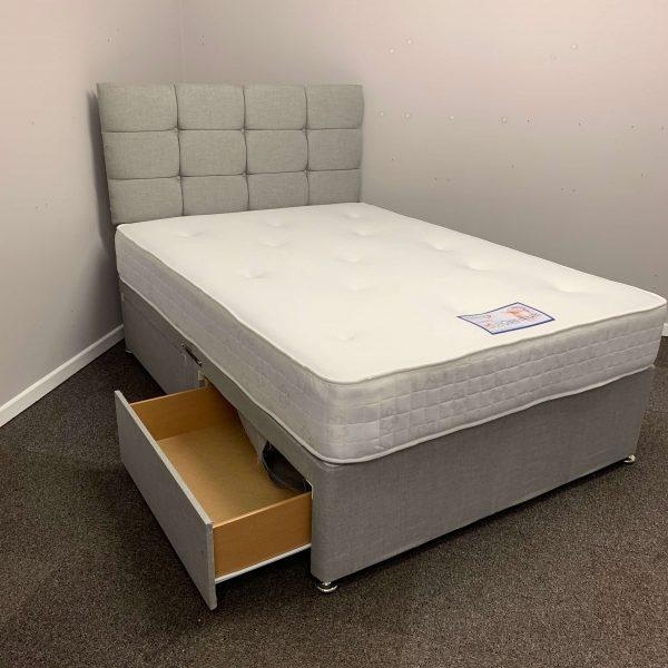 5FT KING 4 Drawers Paris Grey Fabric Divan Bed Set with Memory Mattress and headboard UK